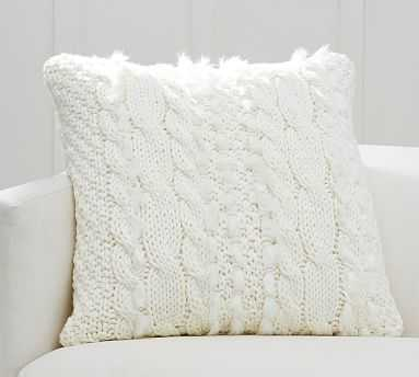 """Cableknit with Faux Fur Pillow Cover, 24"""", Ivory - Pottery Barn"""
