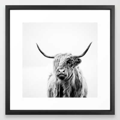 Portrait of a highland cow - 22x22 - Vector Black frame - Society6