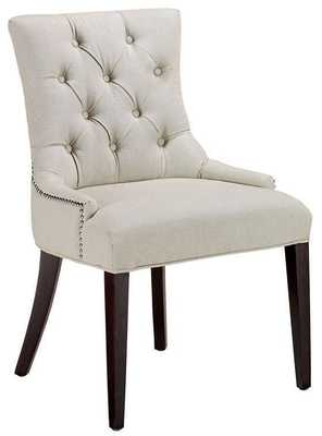 Becca Nailhead Dining Chair - Tufted Natural Linen - Set of 2 - Home Depot