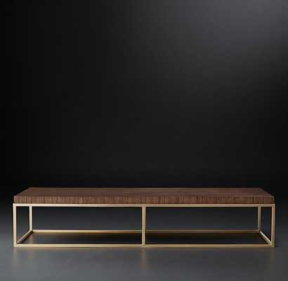 "NICHOLAS RECTANGULAR COFFEE TABLE - Espresso & Polished Stainless Steel - 60"" - RH Modern"