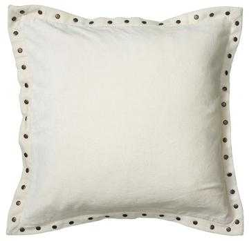 STUDDED VELVET PILLOW - Ivory - Polyester fill insert - Home Decorators