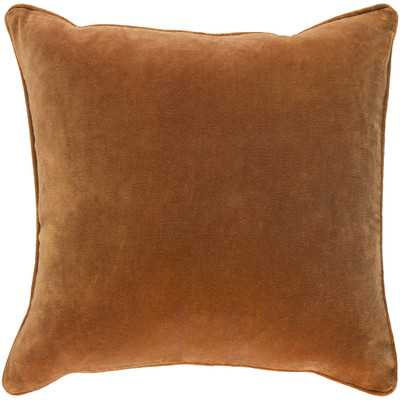 "Safflower Ally Cotton Velvet Pillow Cover - Dark Orange - 18"" x 18"" - Wayfair"