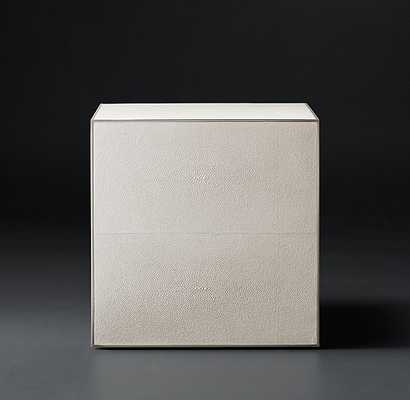 "Shagreen Cube Side Table - Dove Shagreen & Pewter, 18"" - RH Modern"