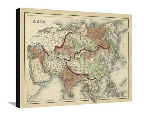"""ANTIQUE MAP OF ASIA - 34"""" x 27"""" - Unframed - No mat - art.com"""