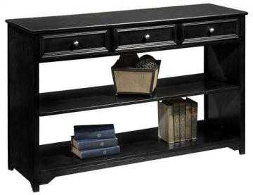 Oxford Three Drawer Console Table with Open Storage - Black - Home Decorators
