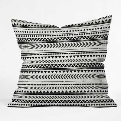 BLACK AND WHITE AZTEC PATTERN Throw Pillow -20x20 - insert - Wander Print Co.