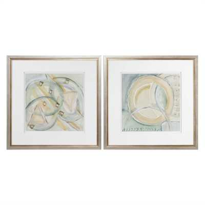 "Abstracts, S/2 - 32"" W X 32"" H - Champagne Frame with Mat - Hudsonhill Foundry"