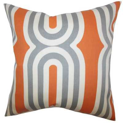 "Persis Geometric Pillow Orange - 18"" x 18"" - Down Insert - Linen & Seam"