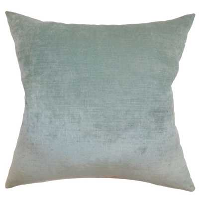 "Haye Solid Pillow Aqua - 20"" x 20"" - Down Insert - Linen & Seam"