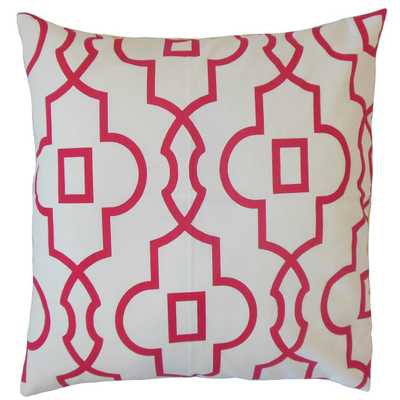 "Thandiwe Geometric Pillow Pink -20"" x 20"" -Down insert - Linen & Seam"
