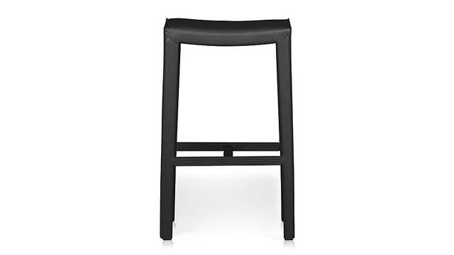 Folio Top-Grain Leather Backless Bar Stool - Crate and Barrel