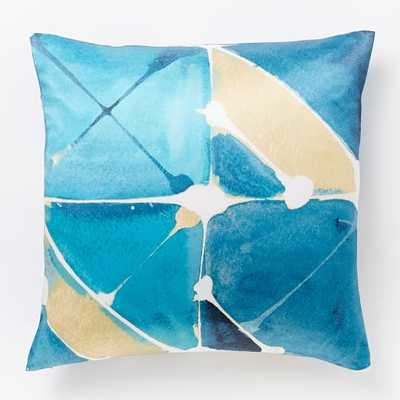 "Watercolor Tiles Silk Pillow Cover - Blue Teal - 20""sq. - Insert Sold Separately - West Elm"