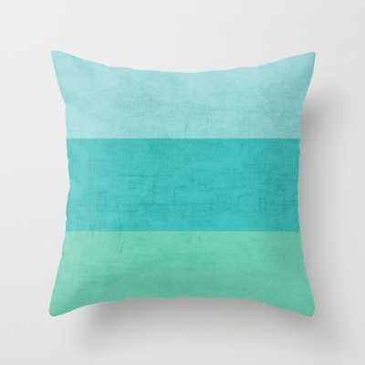 """Three stripes - teal Indoor Pillow - 18"""" x 18"""" - Down Insert - Society6"""
