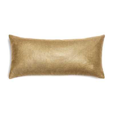 Metallic Gold Coated Khaki Linen Custom Lumbar Pillow - Domino