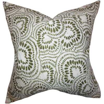 Glynis Floral Pillow Olive Green- 18''x 18''- Polyester insert included - Linen & Seam