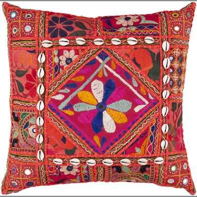 """Karma AR-070 Pillow - 18"""" x 18"""" - Polyester Insert - Linen & Seam"""