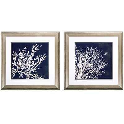 Coastal Coral 2 Piece Framed Graphic Art Set - Silver frame with mat - Wayfair