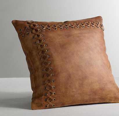 "Leather Catcher's Mitt Decorative Pillow Cover & Insert - 14""x14"" - RH Baby & Child"