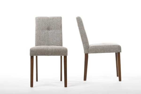 Elsa Grey Linen Contemporary Dining Chair (Set of 2) - Lark Interiors