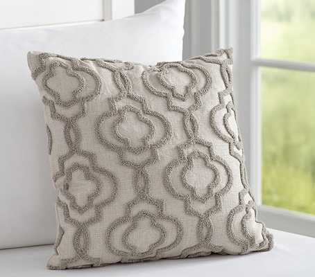 """Candlewick Lattice Pillow - Grey - 16.25"""" square - Polyester Fill - Pottery Barn Kids"""