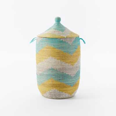 Graphic Printed Large Baskets - Mint/White - West Elm