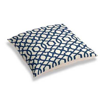 "Flocked Blue Trellis Floor Pillow - 28"" x 28"" - Polyester Insert - Loom Decor"