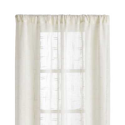 """Briza 50""""x96"""" Ivory Sheer Linen Curtain Panel - Crate and Barrel"""