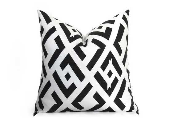 "China Club Pillow Cover - DVF - Black and Off-White - 18"" x 18"" - Insert Not Included - Willa Skye"
