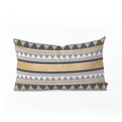 """GOLDEN TRIBAL Oblong Throw Pillow - 23"""" x 14"""" - with insert - Wander Print Co."""