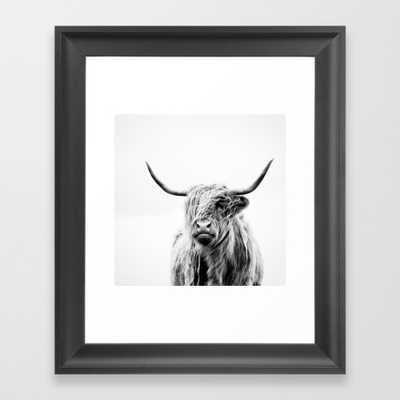 "Portrait of a highland cow Art Print - 10"" x 12"" - Scoop Black Frame - Society6"