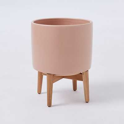 Mid-Century Turned Leg Standing Planters - Matte - Rose - Wide - West Elm