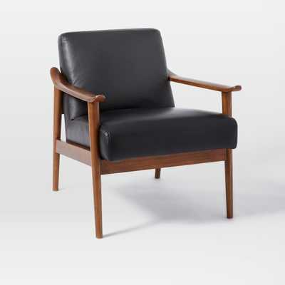 Mid-Century Leather Show Wood Chair - Nero Leather/Pecan - West Elm