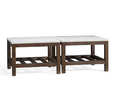 Connor Chestnut finish Pine & Carrara Marbel Square Coffe Table, Set of 2 - Pottery Barn