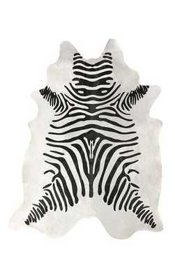 Silk Screen Zebra Cowhide Rug - White - 5' x 7' - Rugs USA