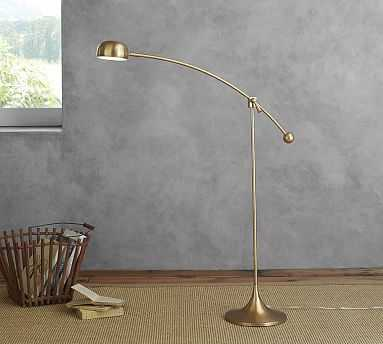 Larkin LED Task Floor Lamp, Brass - Pottery Barn
