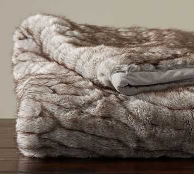 """Gathered Faux Fur Oversized Throw, 60x80"""", Taupe - Pottery Barn"""