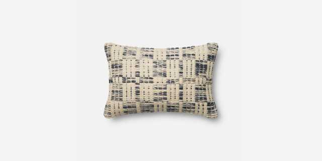 """P0426 MH BLUE / IVORY Pillow - 13"""" x 21"""" - With Poly insert - Loma Threads"""