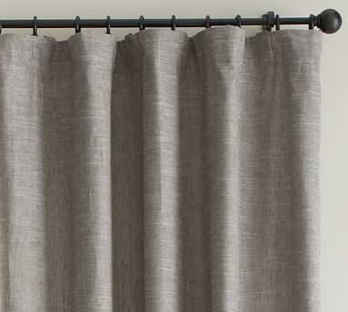 "Emery Linen/Cotton Pole Pocket Blackout Drape, 50'' x 84"", Single, Gray - Pottery Barn"