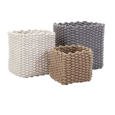 Natural Cotton Rope Baskets - Set of 3 - Mercer Collection