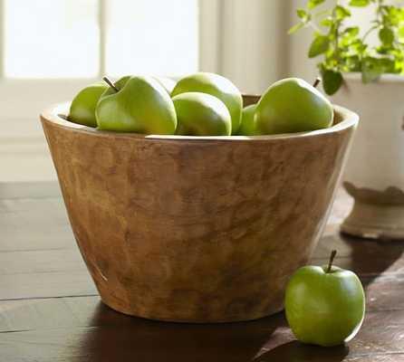 Vintage Wood Carved Large Serve Bowl - Pottery Barn