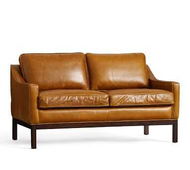 Dale Leather Love Seat, Caramel - Pottery Barn