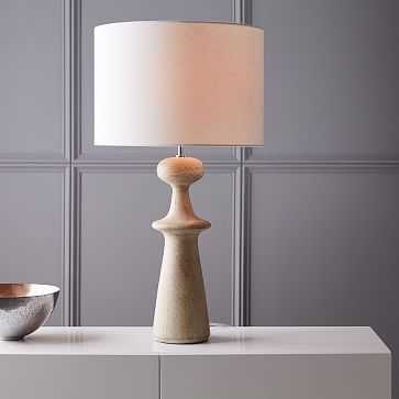 Turned Wood Table Lamp - Tall, Whitewash - West Elm