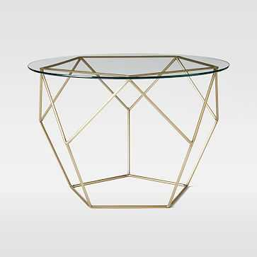 Origami Side Table - Glass/Antique Brass - West Elm