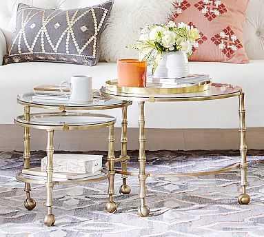 Opaline Nesting Coffee Table, Brass - Pottery Barn