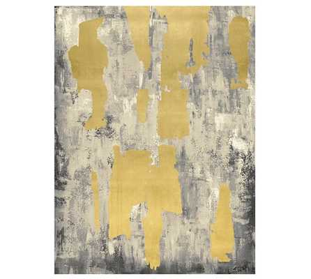 """Gray with Gold Leaf Abstract Canvas - 42"""" x 54"""" - Unframed - Pottery Barn"""