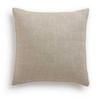 """Belgian Linen Pillow Cover Oatmeal - Oyster Piped - 20"""" x 20"""" - Insert sold separately - Barn & Willow"""