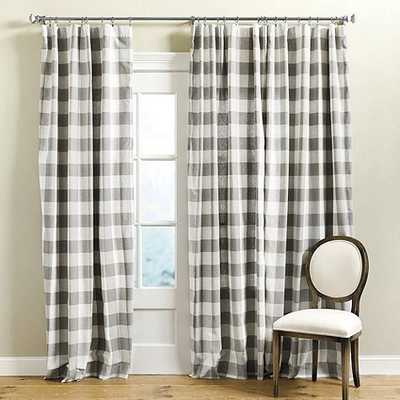 "Buffalo Check Drapery Panel - Gray - 84"" - Ballard Designs"