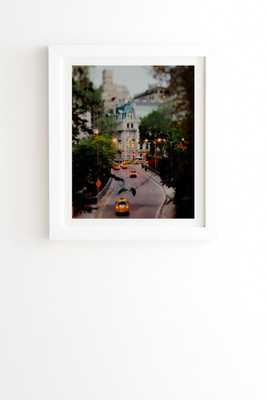 NEW YORK AT NIGHT Framed Wall Art - 11'' x 13''- Basic white frame with mat - Wander Print Co.