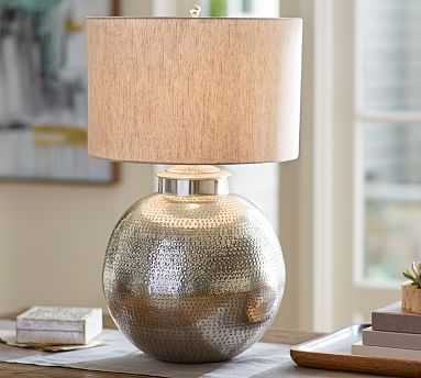 Nori Hammered Table Lamp Base - Antique Silver - Pottery Barn