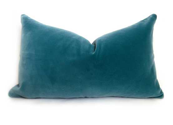 "Belgium Velvet Pillow Cover -12"" X 20""- Turquoise- Without insert - Willa Skye"